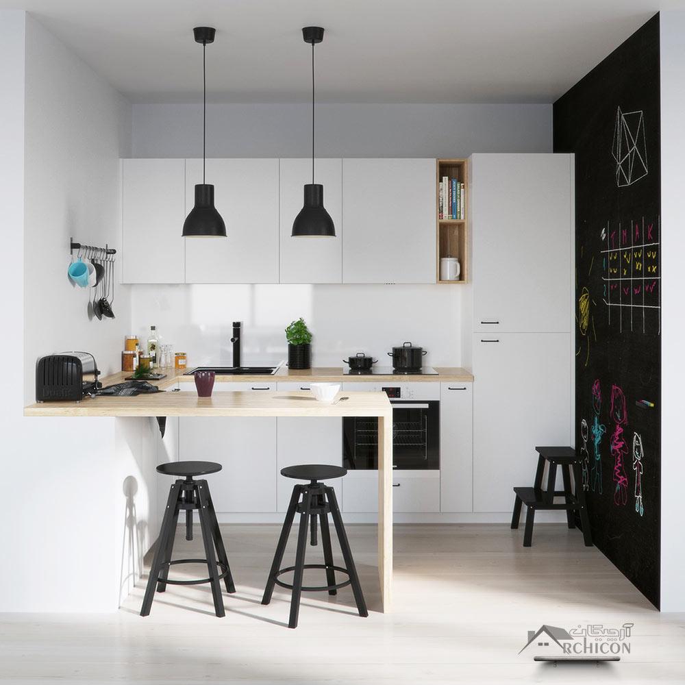 Neat Kitchen Cabinet Ideas: طرح کابینت آشپزخانه ، ترکیب طرح چوب با رنگ سفید