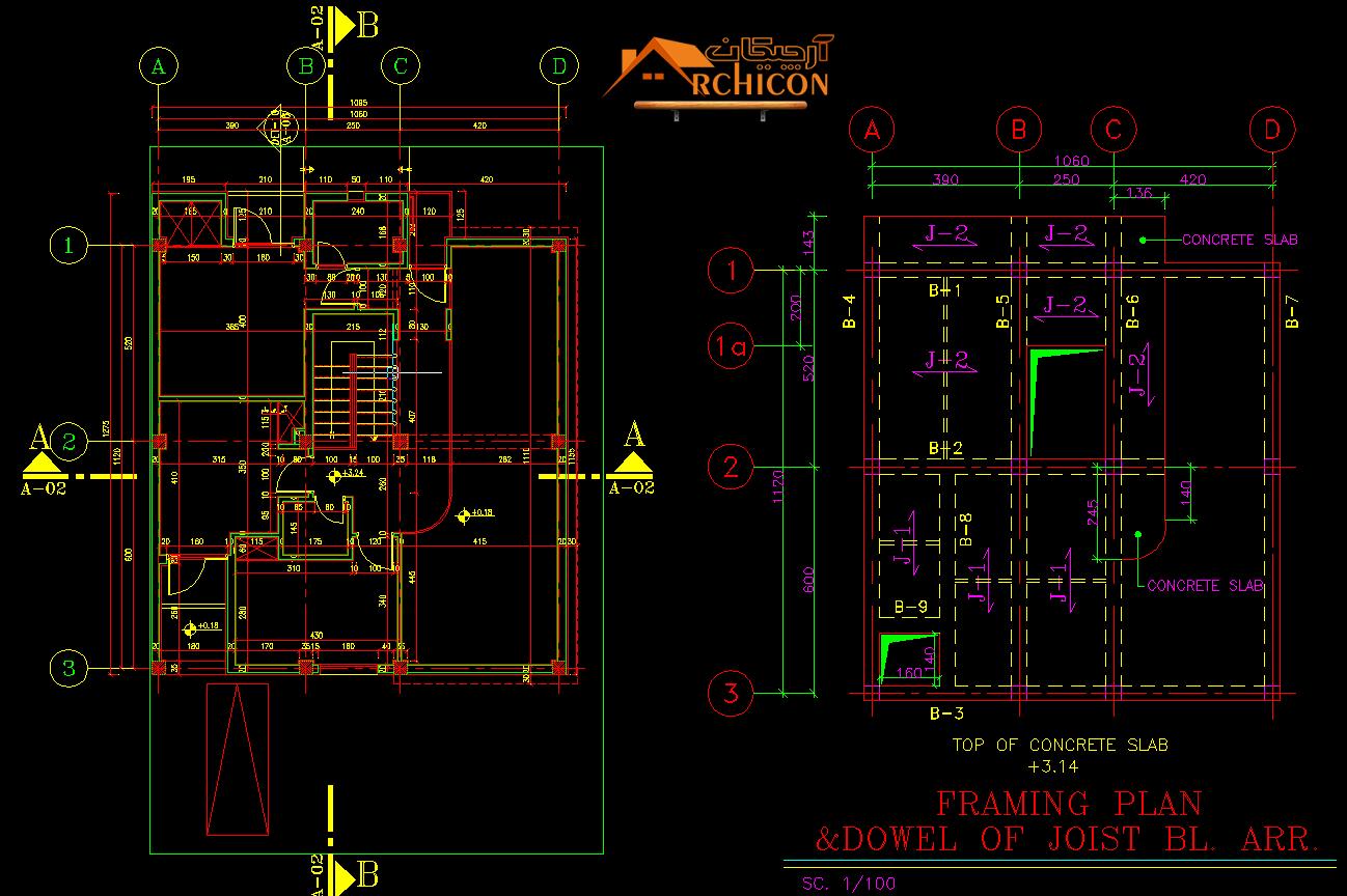 تطبیق نقشه های سازه و معماری