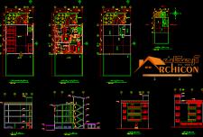 نقشه معماری آپارتمان ۳ طبقه مسکونی