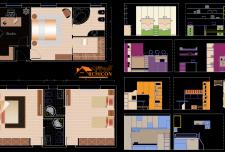 نقشه معماری اتاق خواب [ اتاق خواب مستر | پلان مبلمان اتاق خواب ]