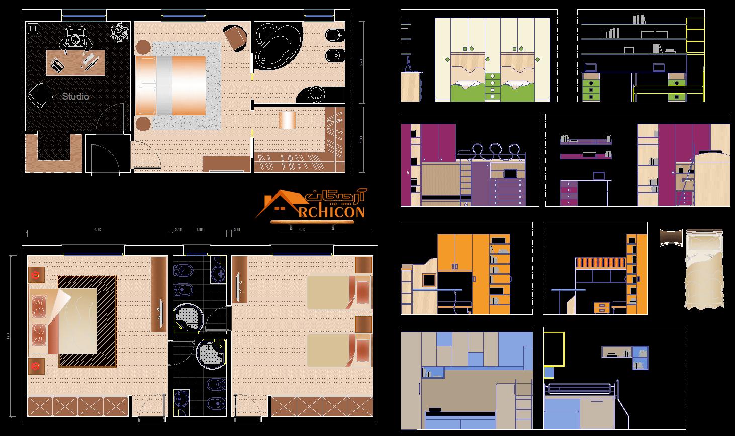 نقشه معماری اتاق خواب