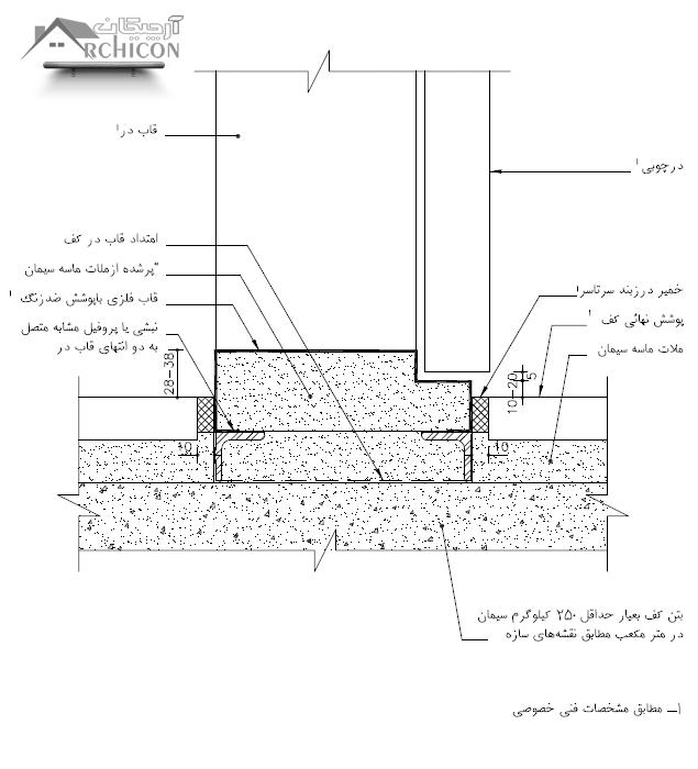 نقشه جزئیات آستانه فلزی [اتصال قاب فلزی در به همکف]