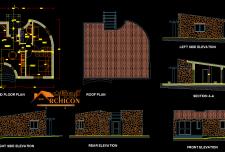 پلان ویلایی ساده و کوچک ۷۰ متر مربع [ ۴ نما و مقطع طولی ]