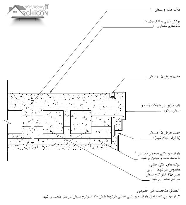 نقشه جزئیات جانبی چهار چوب در