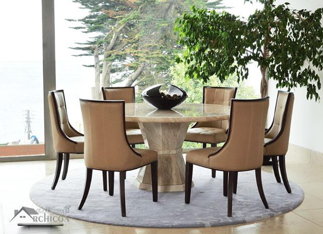 میز ناهار خوری با رویه سنگ