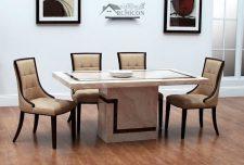 ۱۳ میز ناهار خوری با رویه سنگ مرمر برای دکوراسیون داخلی مدرن