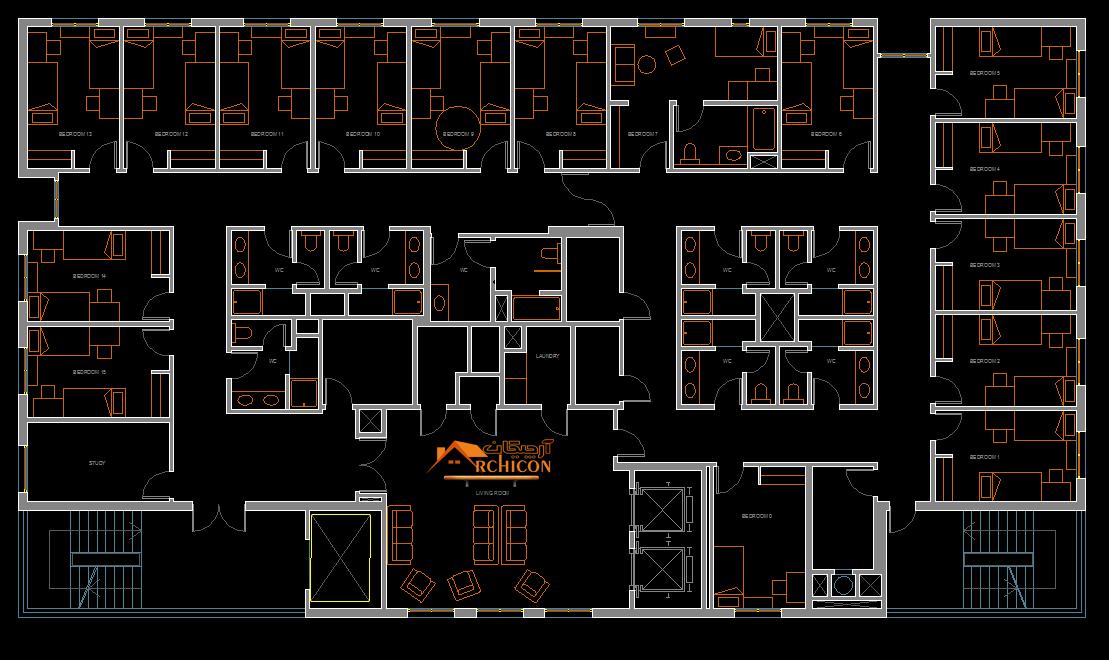 نقشه های معماری خوابگاه دانشجویی