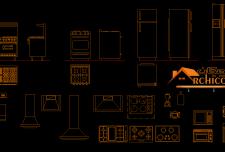 مجموعه کامل مبلمان اتوکد آشپزخانه در پلان و نمای نقشه های معماری